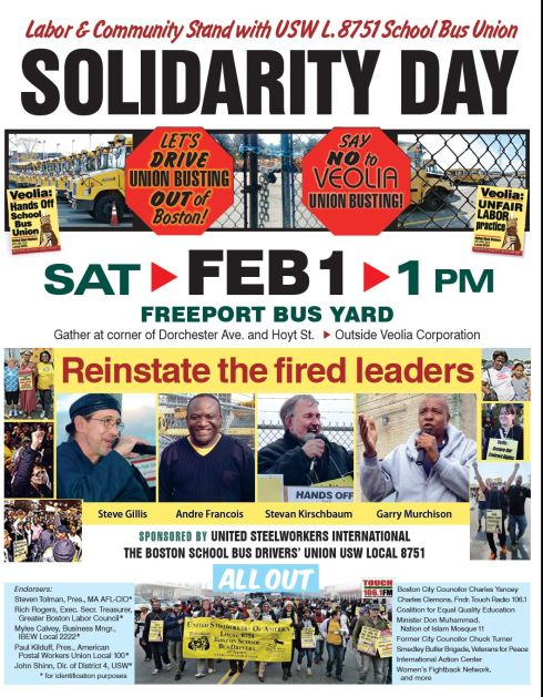 Support the Boston School Bus Drivers Union - Feb 1, 1pm in Dorchester